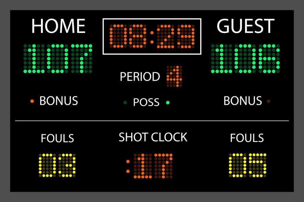 Image of a digital scoreboard.